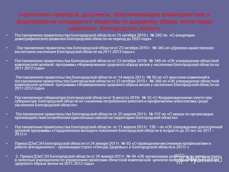 Нормативно-правовые документы, обеспечивающие взаимодействие и формирование солидарного общества по здоровому образу жизни среди населения Белгородской области Постановление правительства Белгородской области от 15 октября 2010 г. 242-пп «О концепции