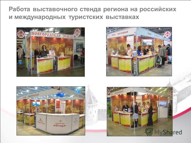 Работа выставочного стенда региона на российских и международных туристских выставках
