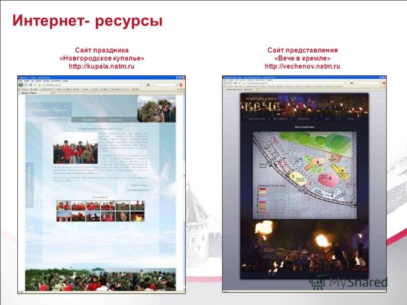 25 Интернет- ресурсы Сайт праздника «Новгородское купалье» http://kupala.natm.ru Сайт представления «Вече в кремле» http://vechenov.natm.ru