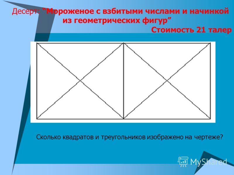 Десерт: Мороженое с взбитыми числами и начинкой из геометрических фигур Стоимость 21 талер Сколько квадратов и треугольников изображено на чертеже?