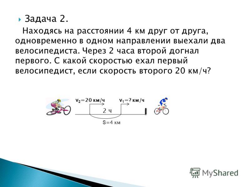 Задача 2. Находясь на расстоянии 4 км друг от друга, одновременно в одном направлении выехали два велосипедиста. Через 2 часа второй догнал первого. С какой скоростью ехал первый велосипедист, если скорость второго 20 км/ч? S =4 км v 2 = 20 км/ч v 1