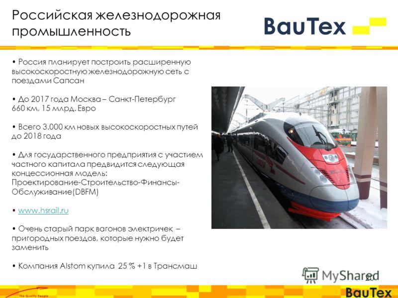 20 Россия планирует построить расширенную высокоскоростную железнодорожную сеть с поездами Сапсан До 2017 года Москва – Санкт-Петербург 660 км, 15 млрд. Евро Всего 3.000 км новых высокоскоростных путей до 2018 года Для государственного предприятия с