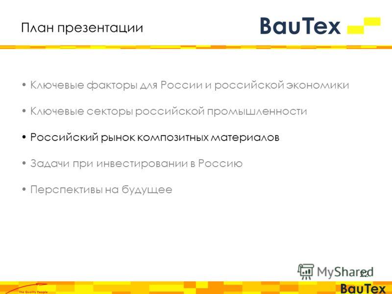 2 План презентации Ключевые факторы для России и российской экономики Ключевые секторы российской промышленности Российский рынок композитных материалов Задачи при инвестировании в Россию Перспективы на будущее