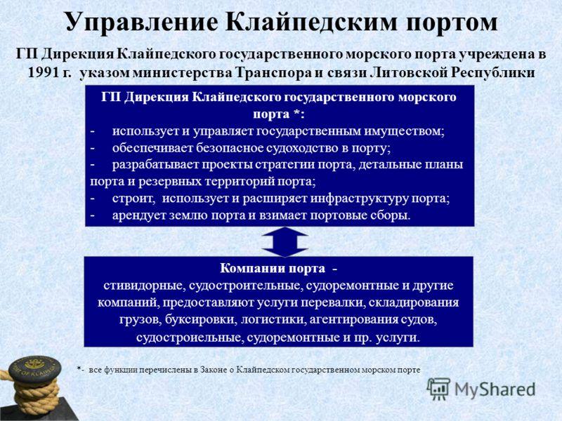 Управление Клайпедским портом ГП Дирекция Клайпедского государственного морского порта *: - использует и управляет государственным имуществом; - обеспечивает безопасное судоходство в порту; - разрабатывает проекты стратегии порта, детальные планы пор