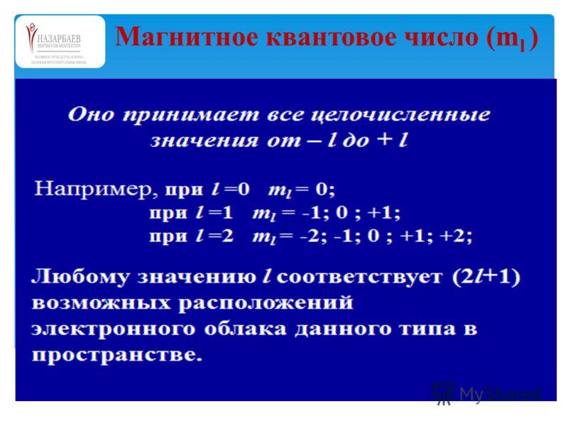 Магнитное квантовое число (m l )