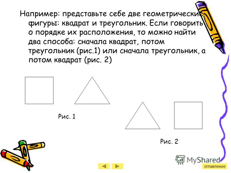 Например: представьте себе две геометрические фигуры: квадрат и треугольник. Если говорить о порядке их расположения, то можно найти два способа: сначала квадрат, потом треугольник (рис.1) или сначала треугольник, а потом квадрат (рис. 2) Рис. 1 Рис.