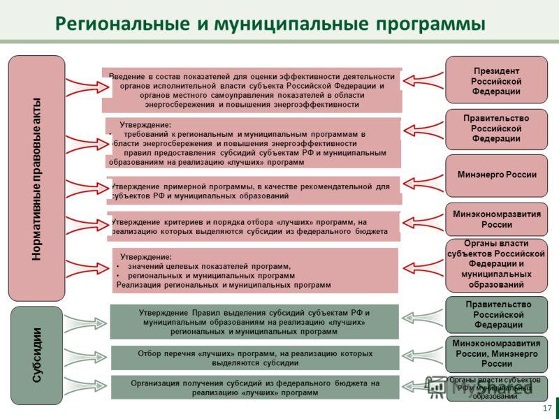 Региональные и муниципальные программы 17 Нормативные правовые акты Субсидии Введение в состав показателей для оценки эффективности деятельности органов исполнительной власти субъекта Российской Федерации и органов местного самоуправления показателей