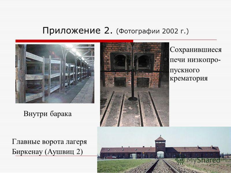 Приложение 2. (Фотографии 2002 г.) Сохранившиеся печи низкопро- пускного крематория Внутри барака Главные ворота лагеря Биркенау (Аушвиц 2)