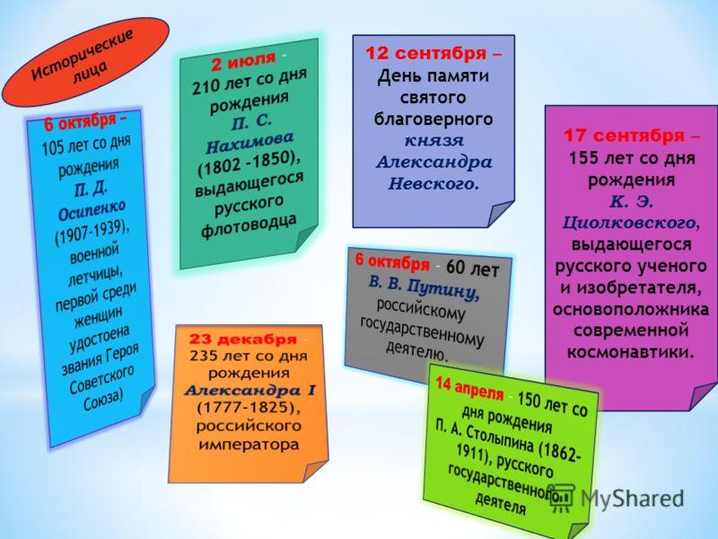 12 сентября – День памяти святого благоверного князя Александра Невского. 17 сентября – 155 лет со дня рождения К. Э. Циолковского, выдающегося русского ученого и изобретателя, основоположника современной космонавтики. Исторические лица