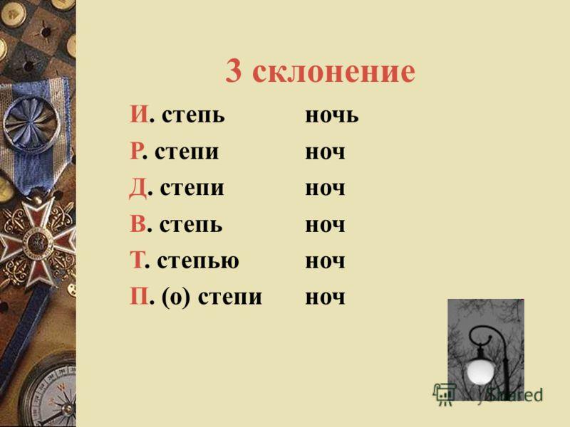 2 склонение И. соловей Р. соловья Д. соловью В. соловья Т. соловьем П. (о) соловье облак (об) облак
