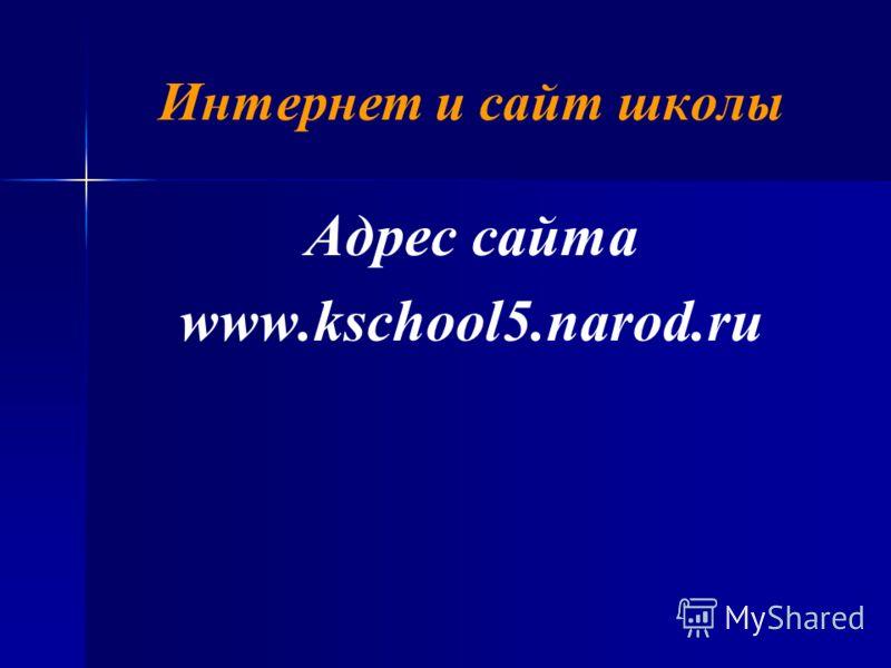 Интернет и сайт школы Адрес сайта www.kschool5.narod.ru