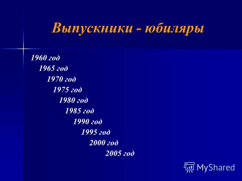 Выпускники - юбиляры 1960 год 1965 год 1970 год 1975 год 1980 год 1985 год 1990 год 1995 год 2000 год 2005 год