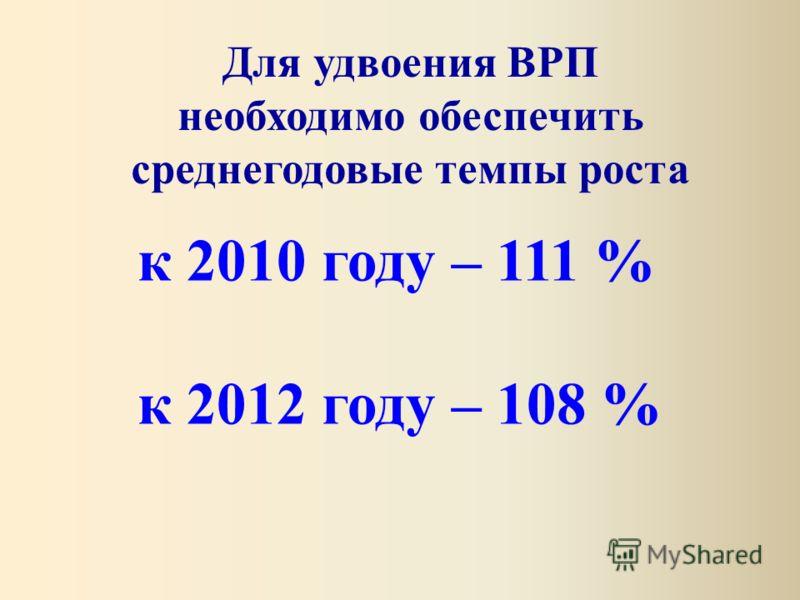 Для удвоения ВРП необходимо обеспечить среднегодовые темпы роста к 2010 году – 111 % к 2012 году – 108 %