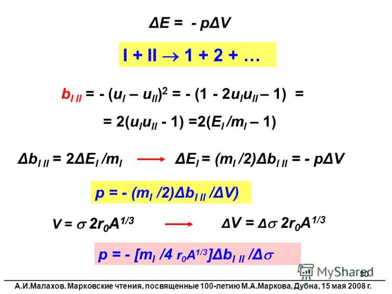 30 ΔЕ = - pΔV b I II = - (u I – u II ) 2 = - (1 - 2u I u II – 1) = = 2(u I u II - 1) =2(E I /m I – 1) I + II 1 + 2 + … Δb I II = 2ΔE I /m I ΔE I = (m I /2)Δb I II = - pΔV p = - (m I /2)Δb I II /ΔV) V = 2r 0 A 1/3 p = - [m I /4 r 0 A 1/3 ]Δb I II /Δ V