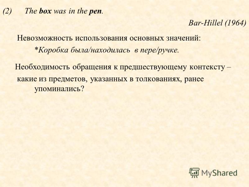 (2)The box was in the pen. Bar-Hillel (1964) Невозможность использования основных значений: *Коробка была/находилась в пере/ручке. Необходимость обращения к предшествующему контексту – какие из предметов, указанных в толкованиях, ранее упоминались?