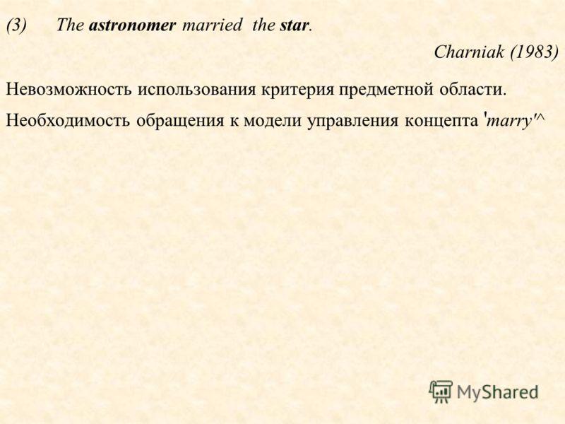 (3)The astronomer married the star. Charniak (1983) Невозможность использования критерия предметной области. Необходимость обращения к модели управления концепта ' marry'^