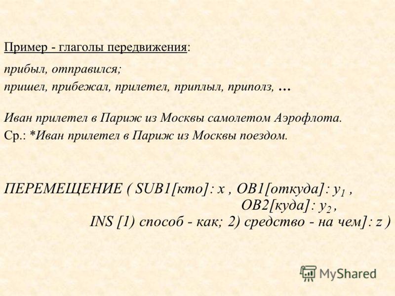 Пример - глаголы передвижения: прибыл, отправился; пришел, прибежал, прилетел, приплыл, приполз, … Иван прилетел в Париж из Москвы самолетом Аэрофлота. Ср.: *Иван прилетел в Париж из Москвы поездом. ПЕРЕМЕЩЕНИЕ ( SUB1[кто]: x, OB1[откуда]: y 1, OB2[к