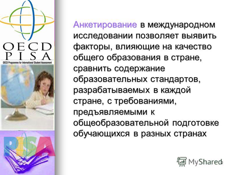 1 Этапы организации и проведения международного исследования PISA-2012 Организация и проведение тестирования Организация и проведение тестирования Организация и проведение анкетирования Организация и проведение анкетирования