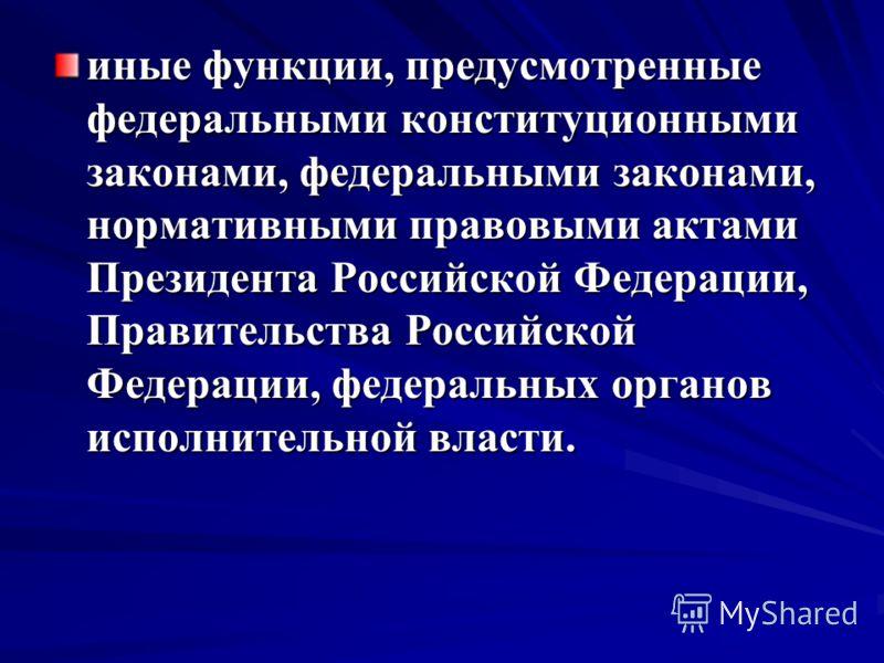 иные функции, предусмотренные федеральными конституционными законами, федеральными законами, нормативными правовыми актами Президента Российской Федерации, Правительства Российской Федерации, федеральных органов исполнительной власти.