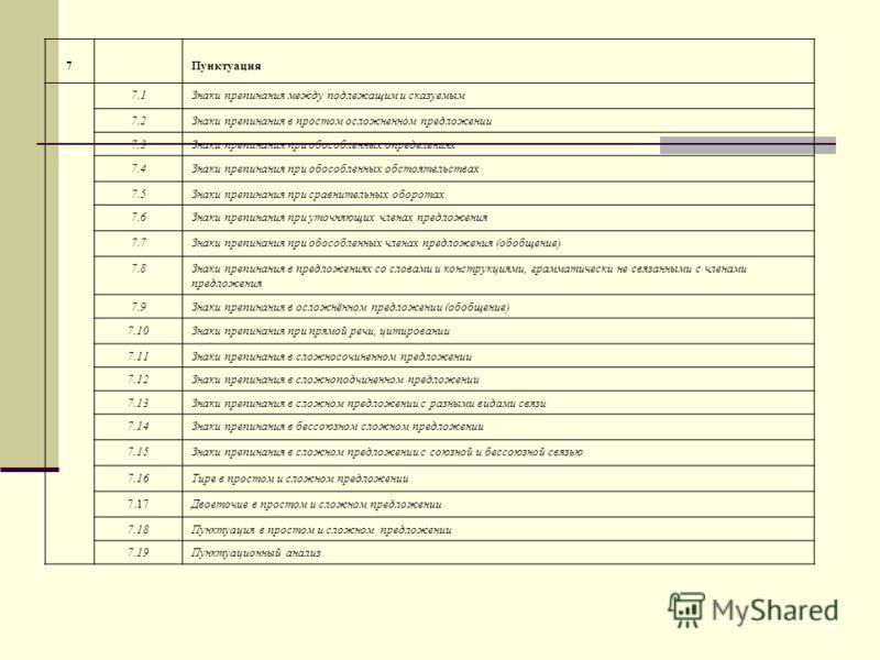 7Пунктуация 7.1Знаки препинания между подлежащим и сказуемым 7.2Знаки препинания в простом осложненном предложении 7.3Знаки препинания при обособленных определениях 7.4Знаки препинания при обособленных обстоятельствах 7.5Знаки препинания при сравните