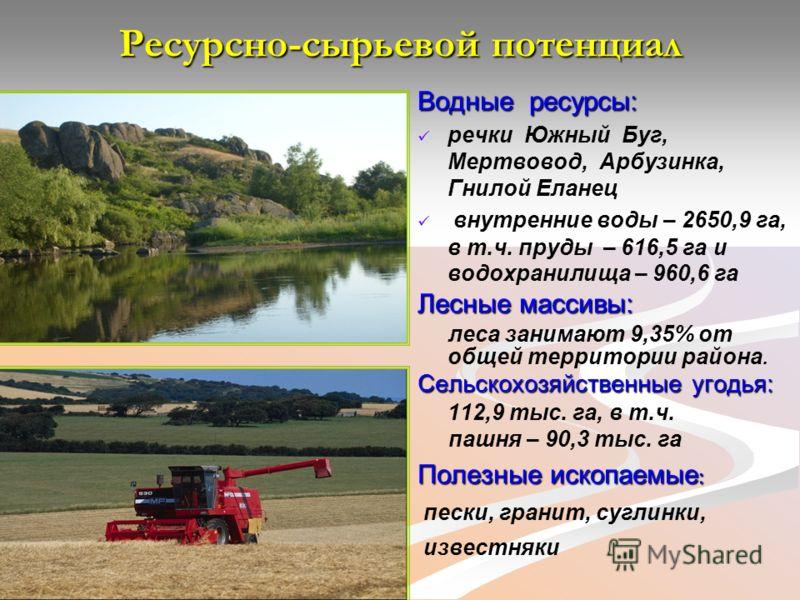Ресурсно-сырьевой потенциал Водные ресурсы: речки Южный Буг, Мертвовод, Арбузинка, Гнилой Еланец внутренние воды – 2650,9 га, в т.ч. пруды – 616,5 га и водохранилища – 960,6 га Лесные массивы: леса занимают 9,35% от общей территории района. Сельскохо