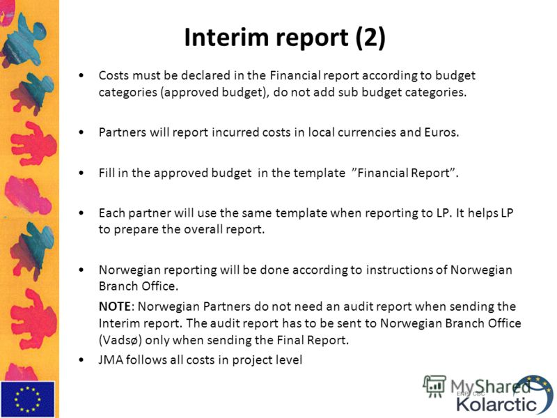 Interim report (2) Costs must be declared in the Financial report according to budget categories (approved budget), do not add sub budget categories. Partners will report incurred costs in local currencies and Euros. Fill in the approved budget in th