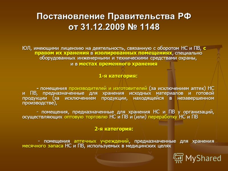 Постановление Правительства РФ от 31.12.2009 1148 ЮЛ, имеющими лицензию на деятельность, связанную с оборотом НС и ПВ, с правом их хранения в изолированных помещениях, специально оборудованных инженерными и техническими средствами охраны, и в местах