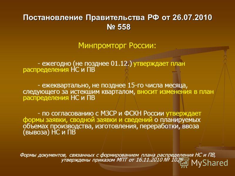 Постановление Правительства РФ от 26.07.2010 558 Минпромторг России: - ежегодно (не позднее 01.12.) утверждает план распределения НС и ПВ - ежеквартально, не позднее 15-го числа месяца, следующего за истекшим кварталом, вносит изменения в план распре
