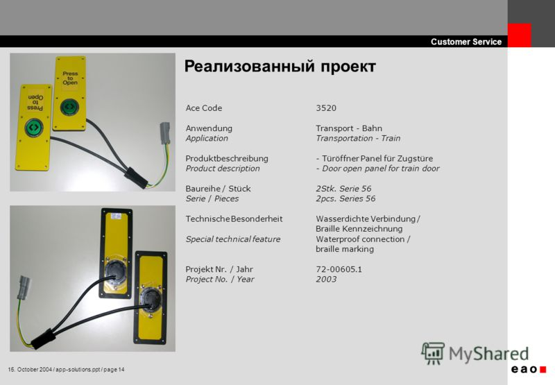 15. October 2004 / app-solutions.ppt / page 14 Customer Service Реализованный проект Ace Code 3520 Anwendung Transport - Bahn Application Transportation - Train Produktbeschreibung - Türöffner Panel für Zugstüre Product description - Door open panel