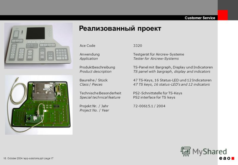 15. October 2004 / app-solutions.ppt / page 17 Customer Service Реализованный проект Ace Code3320 AnwendungTestgerät für Aircrew-Systeme ApplicationTester for Aircrew-Systems ProduktbeschreibungTS-Panel mit Bargraph, Display und Indicatoren Product d