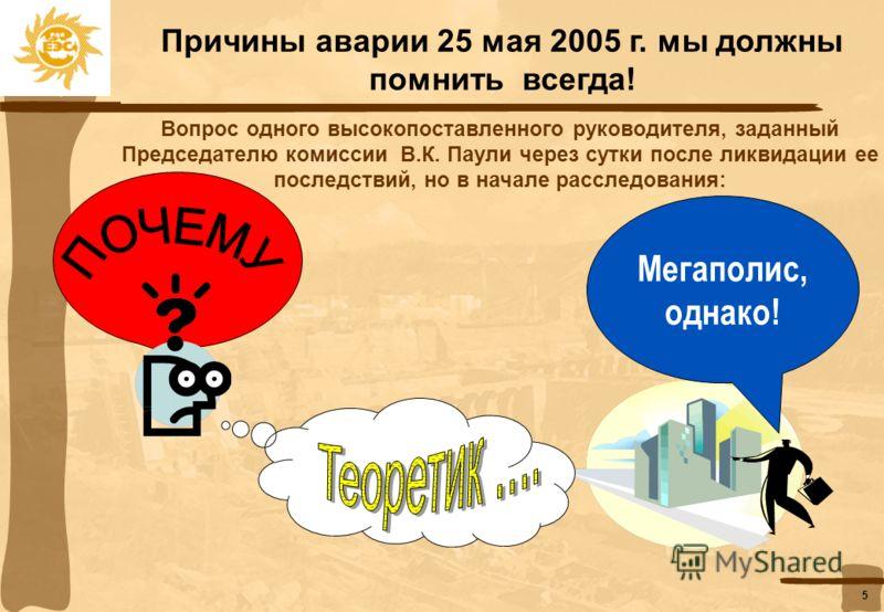 4 Последствия аварии 25 мая 2005 г. должны жить в нашей памяти всегда: Последствия аварии Технические Социальные Отключение потребителей: Около 20 тыс. людей были заблокированы в поездах московского метро, около 1,5 тыс. застряли в лифтах Без электро