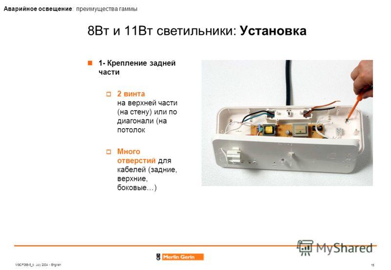 M9CF066-5_b July 2004 - English 15 Аварийное освещение: преимущества гаммы 8Вт и 11Вт светильники: Установка 1- Крепление задней части 2 винта на верхней части (на стену) или по диагонали (на потолок Много отверстий для кабелей (задние, верхние, боко