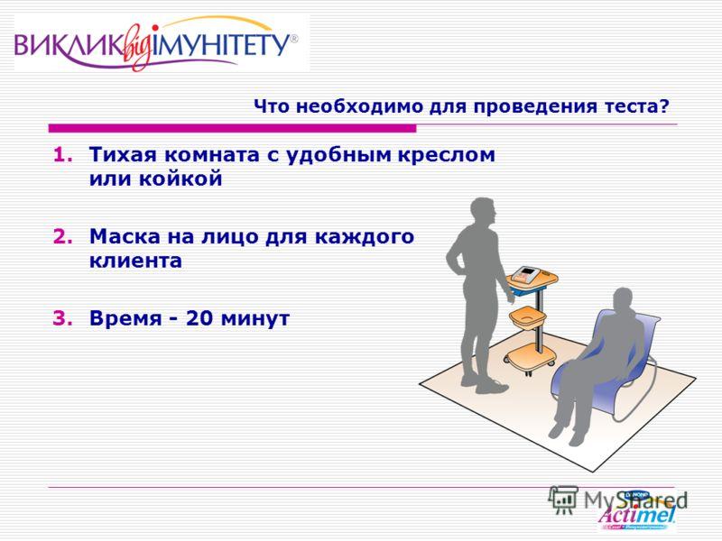 Что необходимо для проведения теста? 1.Тихая комната с удобным креслом или койкой 2.Маска на лицо для каждого клиента 3.Время - 20 минут