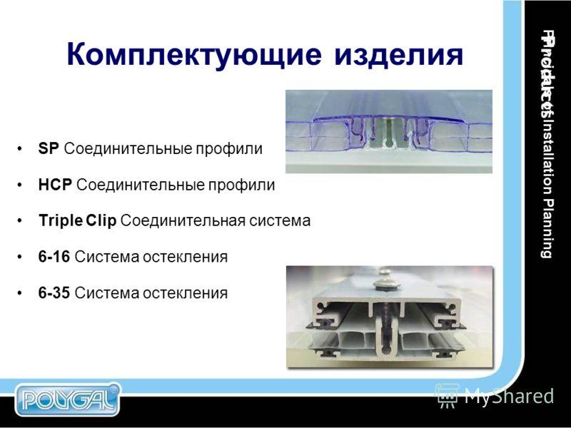 Комплектующие изделия Principals of Installation Planning SP Соединительные профили HCP Соединительные профили Triple Clip Соединительная система 6-16 Система остекления 6-35 Система остекления