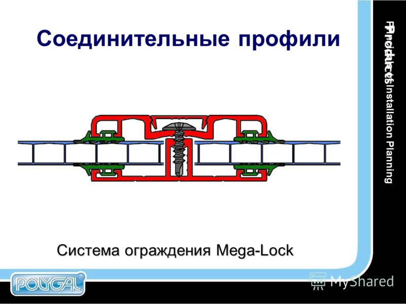 Система ограждения Mega-Lock Соединительные профили Principals of Installation Planning