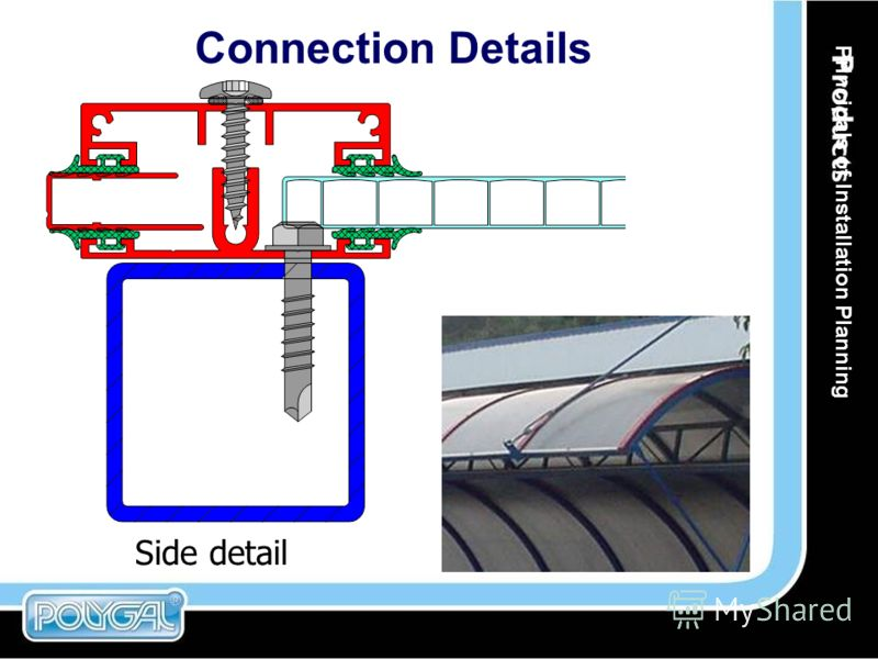 Connection Details Side detail Principals of Installation Planning