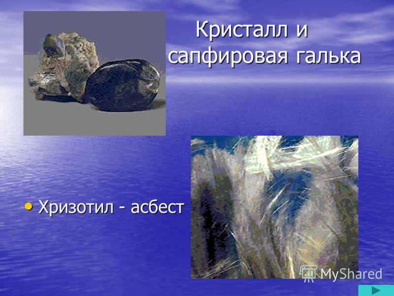 Кристалл и сапфировая галька Кристалл и сапфировая галька Хризотил - асбест Хризотил - асбест