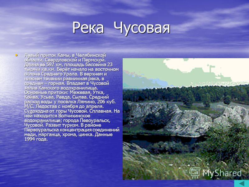 Река Чусовая Река Чусовая Левый приток Камы, в Челябинской области, Свердловской и Пермской. Длина её 592 км, площадь бассейна 23 тысячи кв.км. Берёт начало на восточном склоне Среднего Урала. В верхнем и нижнем течении равнинная река, в среднем – го