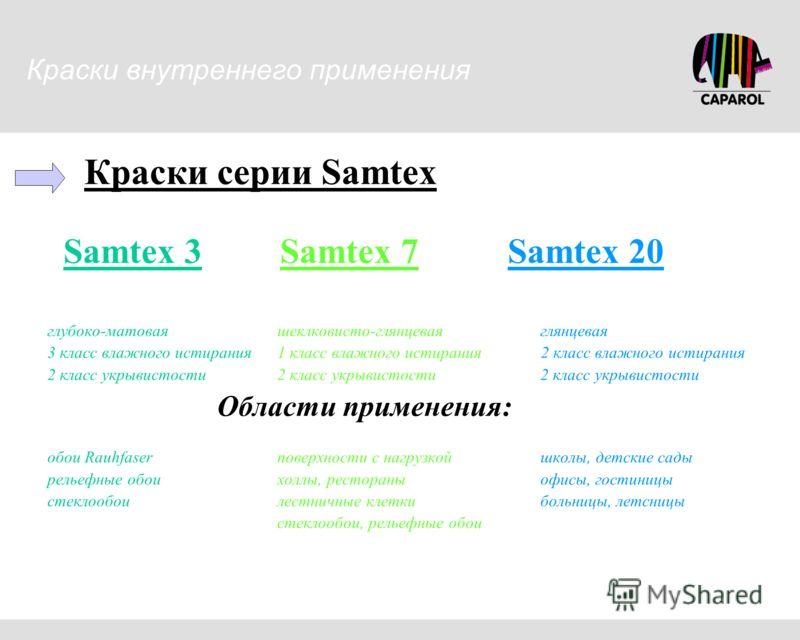 Краски серии Samtex Samtex 3 Samtex 7 Samtex 20 глубоко-матовая шеклковисто-глянцевая глянцевая 3 класс влажного истирания 1 класс влажного истирания 2 класс влажного истирания 2 класс укрывистости 2 класс укрывистости 2 класс укрывистости Области пр