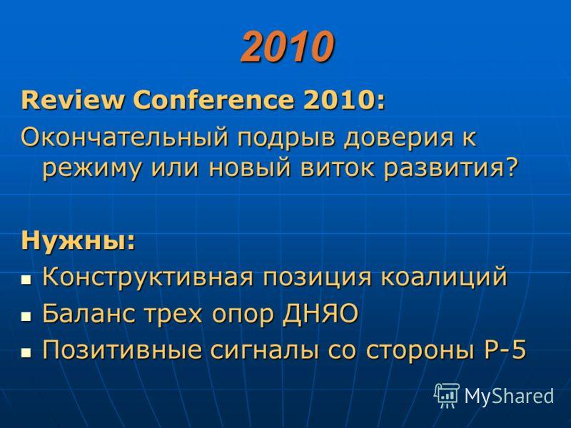 2010 Review Conference 2010: Окончательный подрыв доверия к режиму или новый виток развития? Нужны: Конструктивная позиция коалиций Конструктивная позиция коалиций Баланс трех опор ДНЯО Баланс трех опор ДНЯО Позитивные сигналы со стороны Р-5 Позитивн