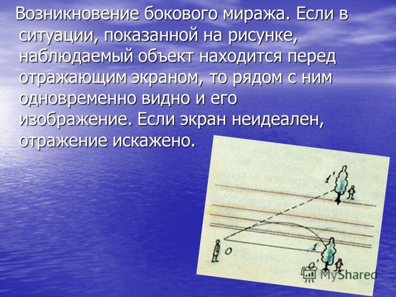 Возникновение бокового миража. Если в ситуации, показанной на рисунке, наблюдаемый объект находится перед отражающим экраном, то рядом с ним одновременно видно и его изображение. Если экран неидеален, отражение искажено. Возникновение бокового миража