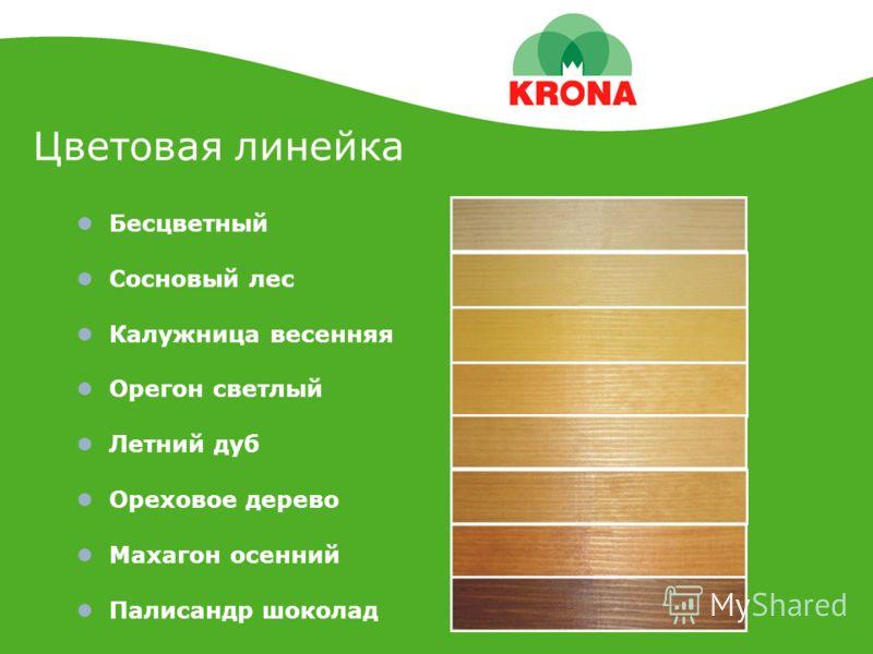 Цветовая линейка Бесцветный Сосновый лес Калужница весенняя Орегон светлый Летний дуб Ореховое дерево Махагон осенний Палисандр шоколад