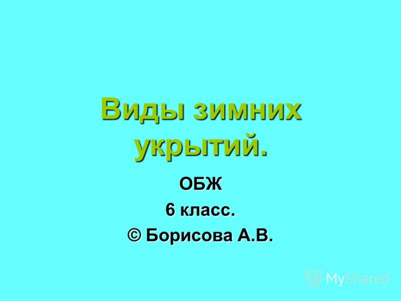 Виды зимних укрытий. ОБЖ 6 класс. © Борисова А.В.
