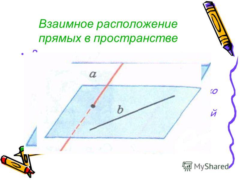 Взаимное расположение прямых в пространстве Возможны три случая взаимного расположения двух прямых в пространстве: - прямые пересекаются, т.е. имеют только одну общую точку - прямые параллельны, т.е. лежат в одной плоскости и не пересекаются - прямые