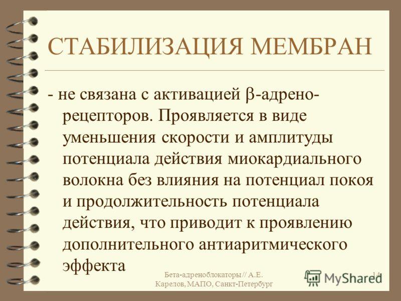 Бета-адреноблокаторы // А.Е. Карелов, МАПО, Санкт-Петербург 14 СТАБИЛИЗАЦИЯ МЕМБРАН - не связана с активацией -адрено- рецепторов. Проявляется в виде уменьшения скорости и амплитуды потенциала действия миокардиального волокна без влияния на потенциал