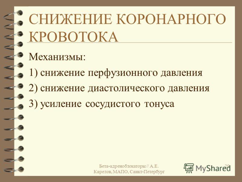 Бета-адреноблокаторы // А.Е. Карелов, МАПО, Санкт-Петербург 29 СНИЖЕНИЕ КОРОНАРНОГО КРОВОТОКА Механизмы: 1) снижение перфузионного давления 2) снижение диастолического давления 3) усиление сосудистого тонуса