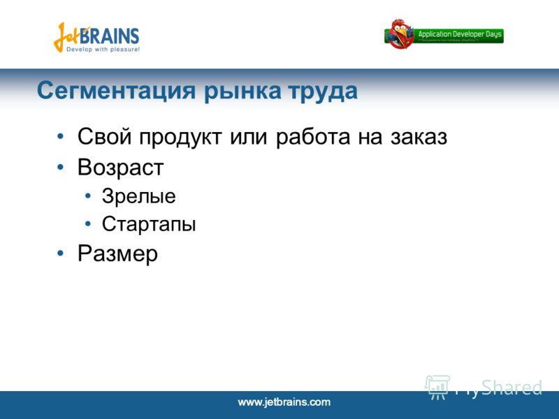 www.jetbrains.com 3 Сегментация рынка труда Свой продукт или работа на заказ Возраст Зрелые Стартапы Размер