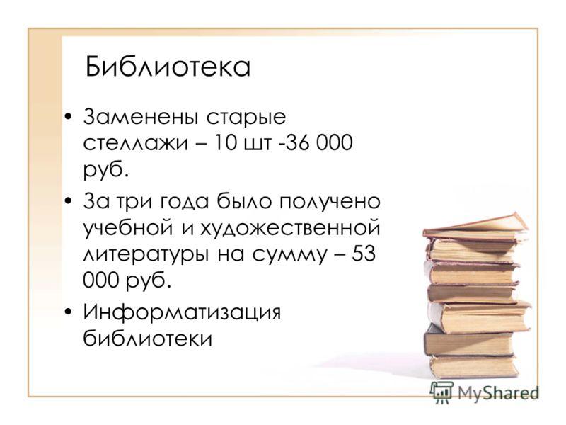 Библиотека Заменены старые стеллажи – 10 шт -36 000 руб. За три года было получено учебной и художественной литературы на сумму – 53 000 руб. Информатизация библиотеки