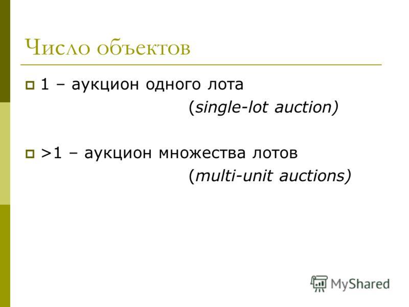 Число объектов 1 – аукцион одного лота (single-lot auction) >1 – аукцион множества лотов (multi-unit auctions)