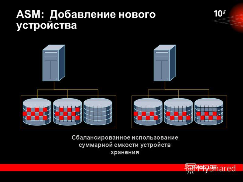 Сбалансированное использование суммарной емкости устройств хранения ASM: Добавление нового устройства
